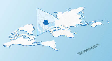 World Map in isometric style with detailed map of Romania. Light blue Romania map with abstract World Map. Vector illustration.