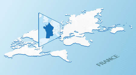 World Map in isometric style with detailed map of France. Light blue France map with abstract World Map. Vector illustration.