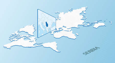 World Map in isometric style with detailed map of Serbia. Light blue Serbia map with abstract World Map. Vector illustration.  イラスト・ベクター素材