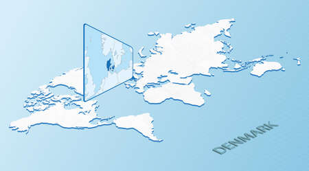 World Map in isometric style with detailed map of Denmark. Light blue Denmark map with abstract World Map. Vector illustration.  イラスト・ベクター素材