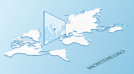 World Map in isometric style with detailed map of Montenegro. Light blue Montenegro map with abstract World Map. Vector illustration.  イラスト・ベクター素材