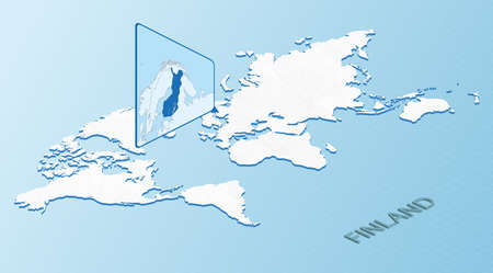 World Map in isometric style with detailed map of Finland. Light blue Finland map with abstract World Map. Vector illustration.  イラスト・ベクター素材