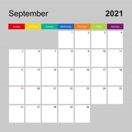Ð¡alendar page for September 2021, wall planner with colorful design. Week starts on Sunday. Vector calendar template.