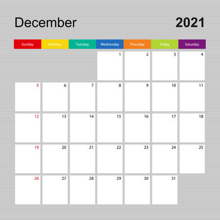 Ð¡alendar page for December 2021, wall planner with colorful design. Week starts on Sunday. Vector calendar template.