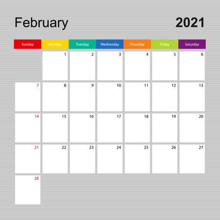 Ð¡alendar page for February 2021, wall planner with colorful design. Week starts on Sunday. Vector calendar template.  イラスト・ベクター素材