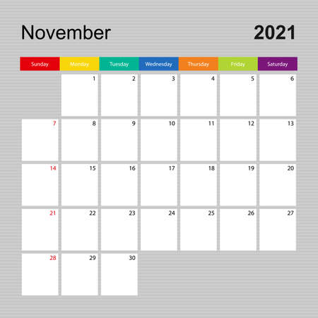 Ð¡alendar page for November 2021, wall planner with colorful design. Week starts on Sunday. Vector calendar template.