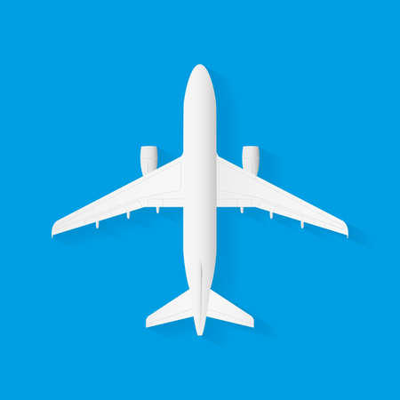 Vector Airplane on blue background, plane top view. Vector illustration.