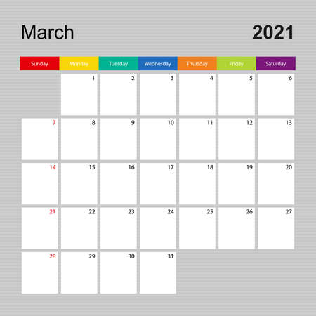 Ð¡alendar page for March 2021, wall planner with colorful design. Week starts on Sunday. Vector calendar template.  イラスト・ベクター素材