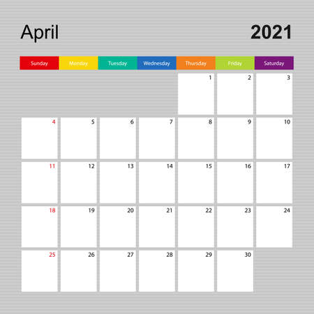 Ð¡alendar page for April 2021, wall planner with colorful design. Week starts on Sunday. Vector calendar template.