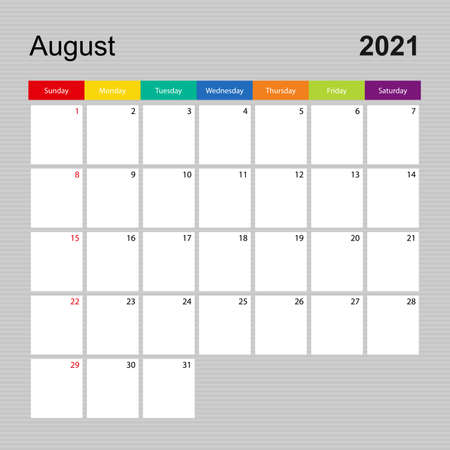 Ð¡alendar page for August 2021, wall planner with colorful design. Week starts on Sunday. Vector calendar template.  イラスト・ベクター素材