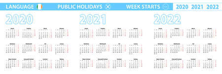 Simple calendar template in Irish for 2020, 2021, 2022 years. Week starts from Monday. Vector illustration.