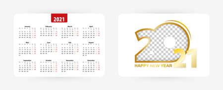 Pocket calendar 2021, vector illustration.