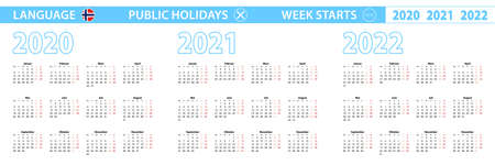 Simple calendar template in Norwegian for 2020, 2021, 2022 years. Week starts from Monday. Vector illustration.
