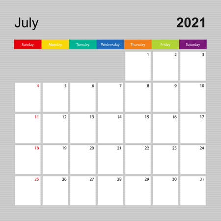 Ð¡alendar page for July 2021, wall planner with colorful design. Week starts on Sunday. Vector calendar template.  イラスト・ベクター素材