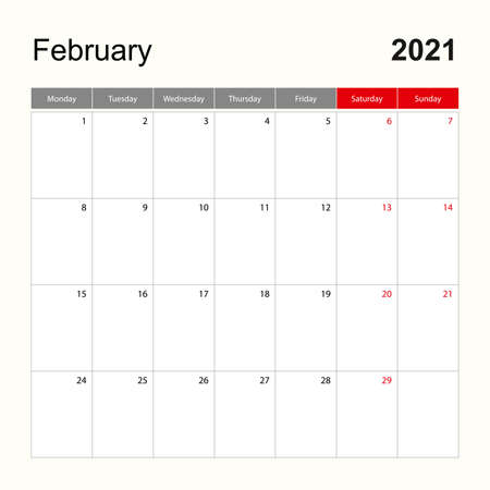 Wall calendar template for February 2021. Holiday and event planner, week starts on Monday. Vector template.  イラスト・ベクター素材