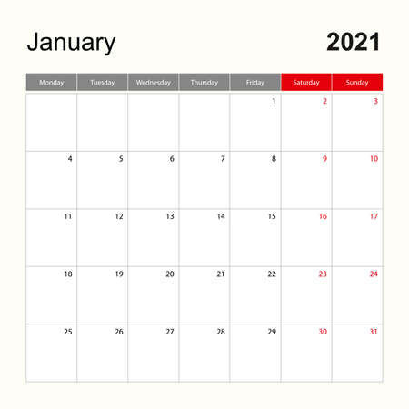 Wall calendar template for January 2021. Holiday and event planner, week starts on Monday Vector template.