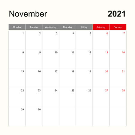 Wall calendar template for November 2021. Holiday and event planner, week starts on Monday. Vector template.  イラスト・ベクター素材