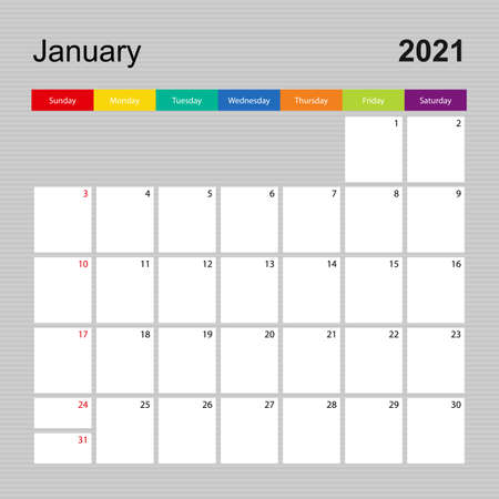 Ð¡alendar page for January 2021, wall planner with colorful design. Week starts on Sunday. Vector calendar template.