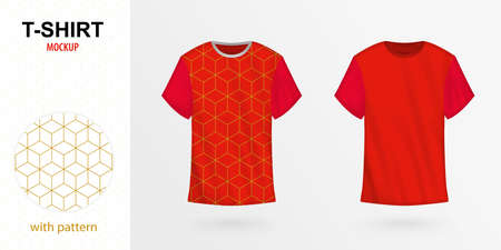 T-shirt mockup with pattern, two versions of red vector t-shirt. Vector template.  イラスト・ベクター素材