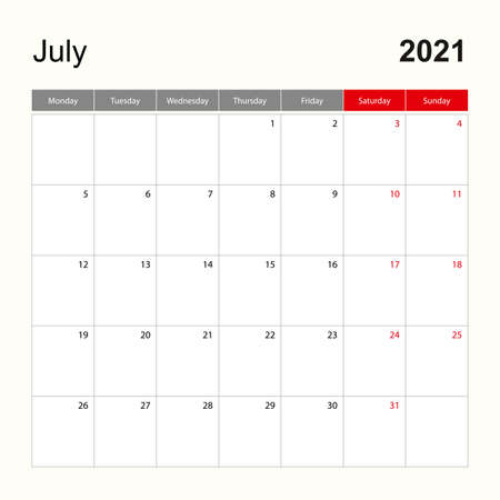 Wall calendar template for July 2021. Holiday and event planner, week starts on Monday. Vector template.