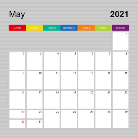 Ð¡alendar page for May 2021, wall planner with colorful design. Week starts on Sunday. Vector calendar template.