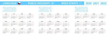 Simple calendar template in Czech for 2020, 2021, 2022 years. Week starts from Monday. Vector illustration.