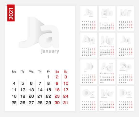 Calendar 2021 template, minimalist calendar set for 2021 year on grey background.  イラスト・ベクター素材