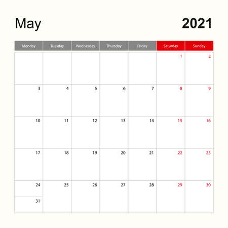 Wall calendar template for May 2021. Holiday and event planner, week starts on Monday. Vector template.