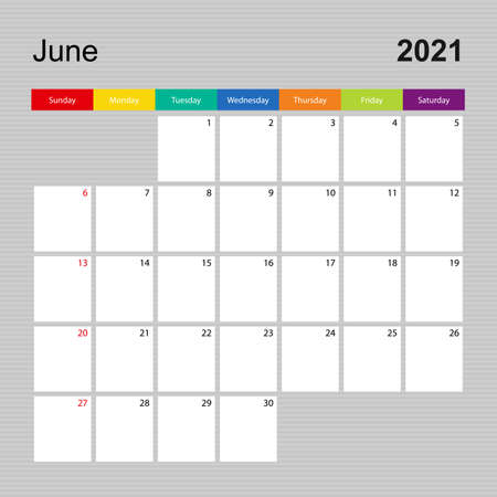 Ð¡alendar page for June 2021, wall planner with colorful design. Week starts on Sunday. Vector calendar template.  イラスト・ベクター素材
