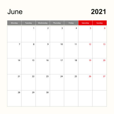 Wall calendar template for June 2021. Holiday and event planner, week starts on Monday. Vector template.