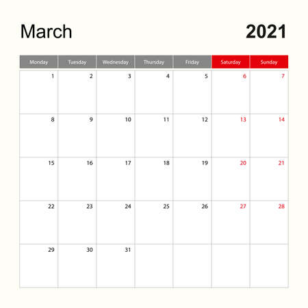 Wall calendar template for March 2021. Holiday and event planner, week starts on Monday. Vector template.  イラスト・ベクター素材