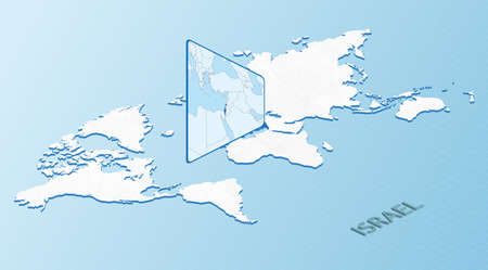 World Map in isometric style with detailed map of Israel. Light blue Israel map with abstract World Map. Vector illustration.