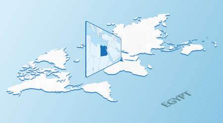 World Map in isometric style with detailed map of Egypt. Light blue Egypt map with abstract World Map. Vector illustration.
