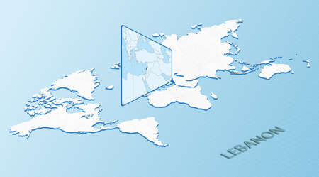 World Map in isometric style with detailed map of Lebanon. Light blue Lebanon map with abstract World Map. Vector illustration.