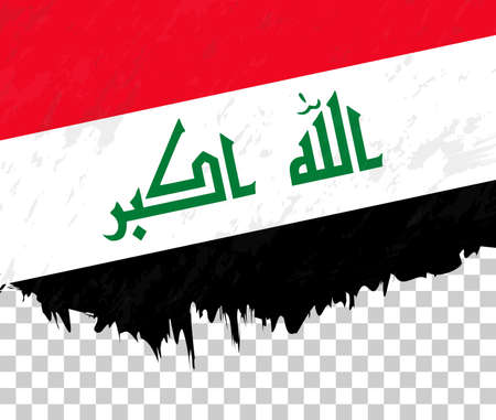 Grunge-style flag of Iraq on a transparent background. Vector textured flag of Iraq for vertical design. Vektorové ilustrace