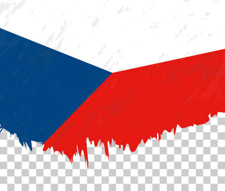 Grunge-style flag of Czech Republic on a transparent background. Vector textured flag of Czech Republic for vertical design.