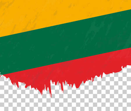 Grunge-style flag of Lithuania on a transparent background. Vector textured flag of Lithuania for vertical design.