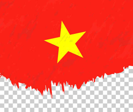 Grunge-style flag of Vietnam on a transparent background. Vector textured flag of Vietnam for vertical design.