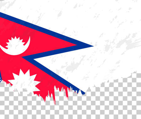 Grunge-style flag of Nepal on a transparent background. Vector textured flag of Nepal for vertical design. 向量圖像