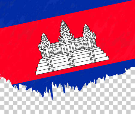 Grunge-style flag of Cambodia on a transparent background. Vector textured flag of Cambodia for vertical design.