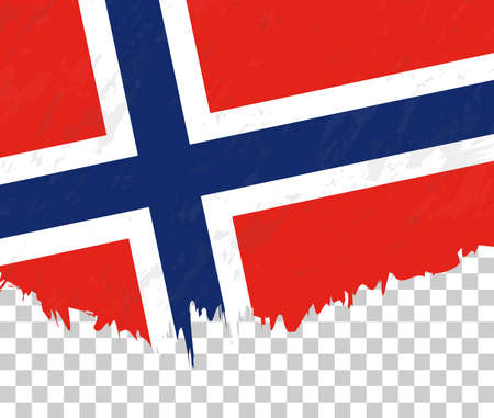 Grunge-style flag of Norway on a transparent background. Vector textured flag of Norway for vertical design. Stock Illustratie
