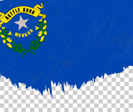 Grunge-style flag of Nevada on a transparent background. Vector textured flag of Nevada for vertical design.