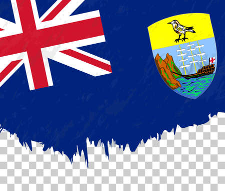Grunge-style flag of Saint Helena on a transparent background. Vector textured flag of Saint Helena for vertical design. Illustration