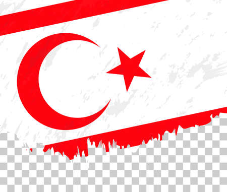 Grunge-style flag of Northern Cyprus on a transparent background. Vector textured flag of Northern Cyprus for vertical design.