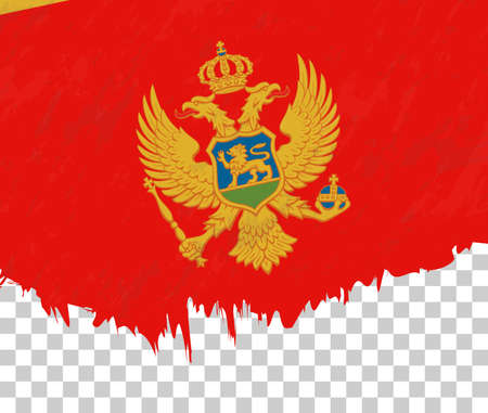 Grunge-style flag of Montenegro on a transparent background. Vector textured flag of Montenegro for vertical design.