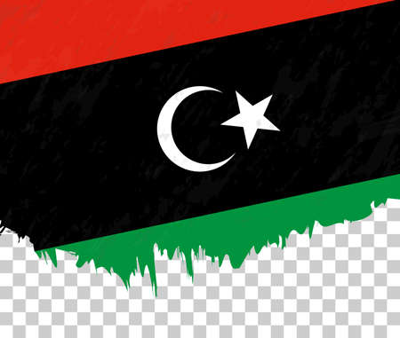 Grunge-style flag of Libya on a transparent background. Vector textured flag of Libya for vertical design. Vettoriali