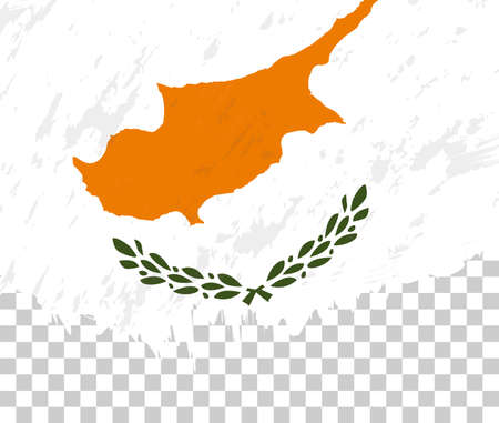 Grunge-style flag of Cyprus on a transparent background. Vector textured flag of Cyprus for vertical design.