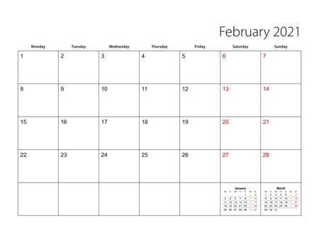 February 2021 simple calendar planner, week starts from Monday. Vector calendar planner.