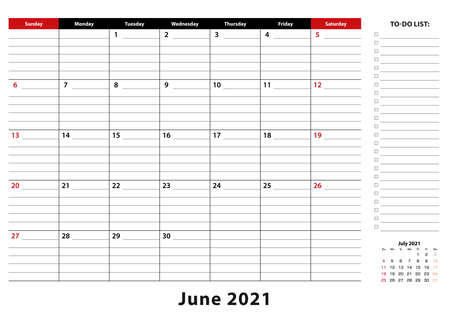 June 2021 Monthly Desk Pad Calendar week starts from sunday, size A3. June 2021 calendar planner with to-do list and place for notes.