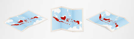 Folded map of Indonesia in three different versions. Vector map of Indonesia.